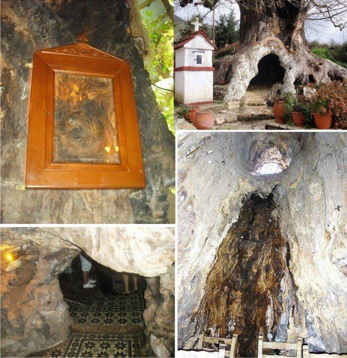 το εκκλησάκι της Παναγίας της Πλατανιώτισσας, στο εσωτερικό