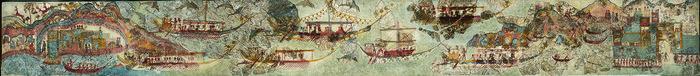 ΕΡΓΟ ΠΟΥ ΠΑΡΟΥΣΙΑΖΕΤΑΙ ΑΠΟΚΛΕΙΣΤΙΚΑ ΣΤΟΝ ΤΟΜΟ – ΔΕΝ ΕΧΕΙ ΕΚΤΕΘΕΙ ΑΚΟΜΗ ΣΤΟ ΜΟΥΣΕΙΟΜικρογραφική ζωφόρος, μήκους 4 περίπου μέτρων, από την ανώτερη ζώνη του νότιου τοίχου στο δωμάτιο 5 της Δυτικής Οικία, με παράσταση νηοπομπής.Τα πλοία είναι πολεμικά, ιστιοφόρα, και παριστάνονται σε 2 σειρές. Ομοίωμα άγριου θηρίου (λιονταριού ή ερπετού) στην πρύμνη πιθανώς αποτελούσε το έμβλημα του σκάφους, ενώ η παράσταση ικρίου εικονίζει τον μικρό θάλαμο του κυβερνήτη. Μπροστά στέκεται όρθιος ο τιμονιέρης, ρυθμίζοντας την κατεύθυνση του πλοίου. Αντίκρυ στον τιμονιέρη και δίπλα από την καθιστή μορφή βρίσκονται οι ασπίδες των πολεμιστών που εικονίζονται καθισμένοι. Τα ιστία των πλοίων της κάτω σειράς είναι κατεβασμένα και εμφανίζονται τα κράνη και τα ακόντια των πολεμιστών. Οι σκυμμένοι κωπηλάτες στην κουπαστή κάθε πλοίου διακρίνονται μόνο από τα κεφάλια τους και από τα χέρια τους που κρατούν τα κουπιά.