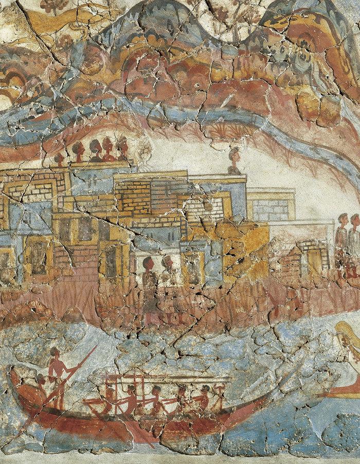 Λεπτομέρεια: Το Λιμάνι του απόπλου. Η χλωρίδα και η πανίδα στο εικονιζόμενο τοπίο στο βάθος υποδηλώνουν τον εξωτικό χαρακτήρα του.
