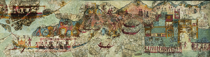 Η νηοπομπή φτάνει στον προορισμό της. Η λοφοσειρά που εικονίζεται να προστατεύει το λιμάνι από αριστερά είναι σχεδόν ταυτόσημη με το τοπίο στα δυτικά της προϊστορικής πόλης του Ακρωτηρίου, γεγονός που προσέδωσε στη συγκεκριμένη τοιχογραφία τον χαρακτηρισμό του αρχαιότερου χάρτη του κόσμου. Στην κορυφή του λόφου εικονίζεται οικίσκος με ανδρικές μορφές που φαίνεται πως ανήκαν στους παρατηρητές/φύλακες του λιμανιού.