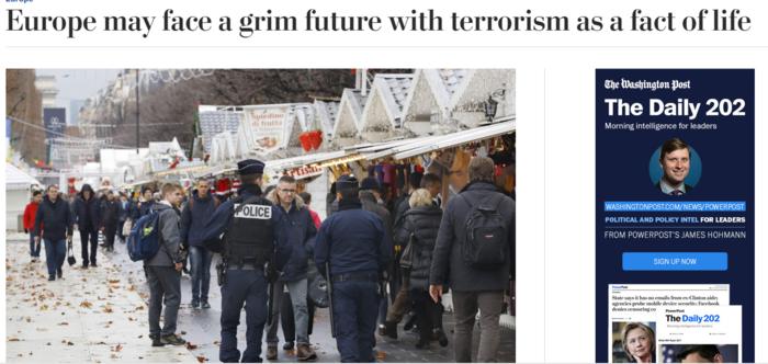 Washington Post:Η τρομοκρατία είναι η νέα πραγματικότητα της Ευρώπης
