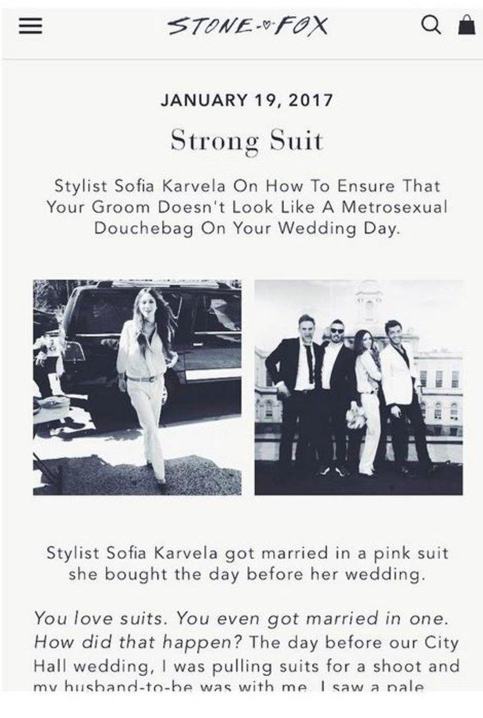 Η ανατρεπτική Σοφία Καρβέλα εξηγεί γιατί παντρεύτηκε φορώντας κοστούμι