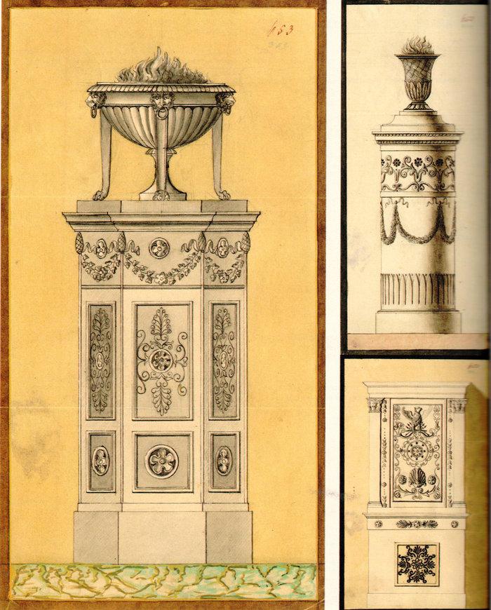 Σχέδια στοιχείων του εσωτερικού διακόσμου των Ανακτόρων (αρχείο Ανακτόρων Όθωνος)