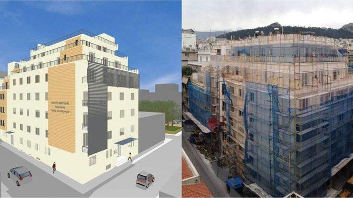 Αριστερά μακέτα και δεξιά η όψη του κτιρίου την περίοδο της ανακατασκευής του