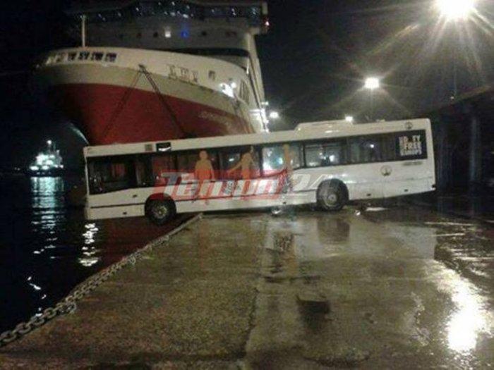 Λεωφορείο βρέθηκε να κάνει... τραμπάλα στο λιμάνι της Πάτρας