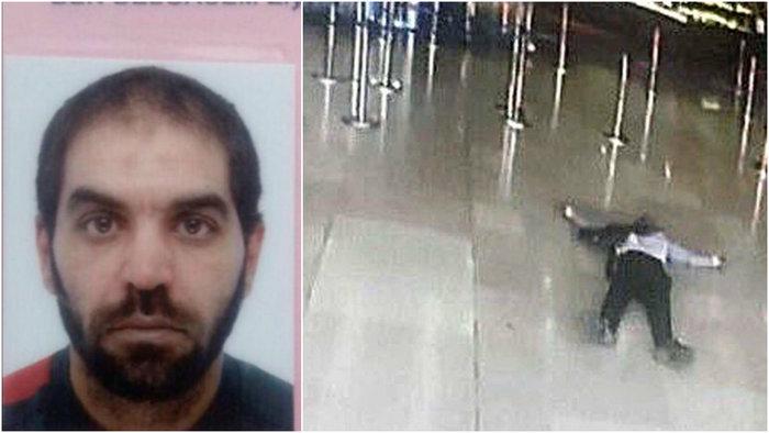 Αριστερά ο Ζιγιέντ Μπεν Μπελγκασέμ.Δεξιά το πτώμα του δράστη στο πάτωμα του τερματικού σταθμού στο αεροδρόμιο Ορλυ