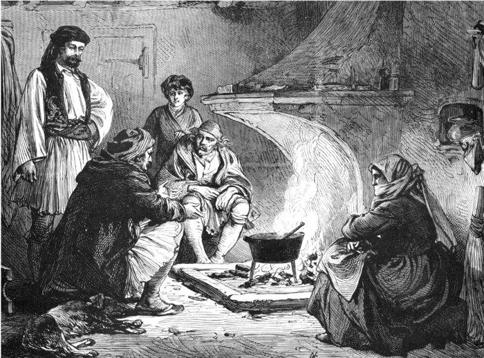 Εσωτερικό ενός χαρακτηριστικού χωριατόσπιτου (1877). Αυτή η εικονογράφηση του «περιπλανώμενου ανταποκριτή» του Illustrated London News αποδίδει το εσωτερικό ενός χωριατόσπιτου στην Αργολίδα. Μας δείχνει τη χοντροκομμένη κατασκευή αυτού του τυπικού σπιτιού και μας μεταφέρει έντονα τη σημασία των φύλων στην αγροτική Ελλάδα.Illustrated London News, 28 Φεβρουαρίου 1877. GallantGraphics με την επιφύλαξη κάθε δικαιώματος.