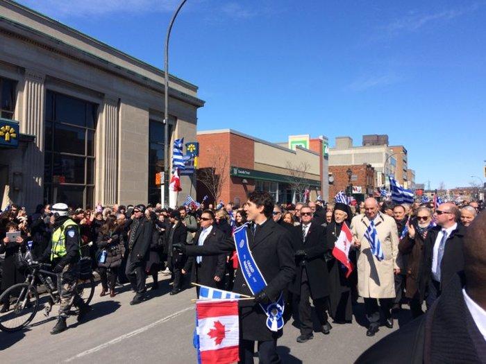 O Τζάστιν Τριντό στην παρέλαση της 25ης Μαρτίου στο Μόντρεαλ - εικόνα 3