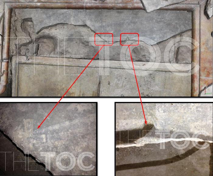 Το εσωτερικό του Πανάγιου Τάφου, ο χαραγμένος σταυρός και η πλάκα από ασβεστόλιθο