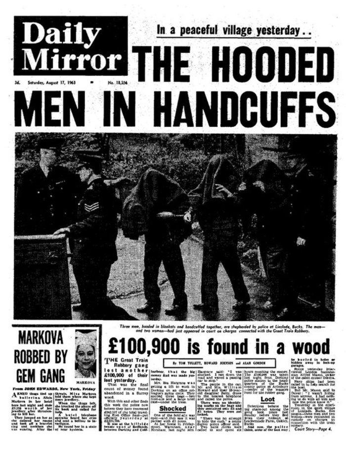 Το πρωτοσέλιδο της Daily Mirror μετά τη σύλληψη των ληστών