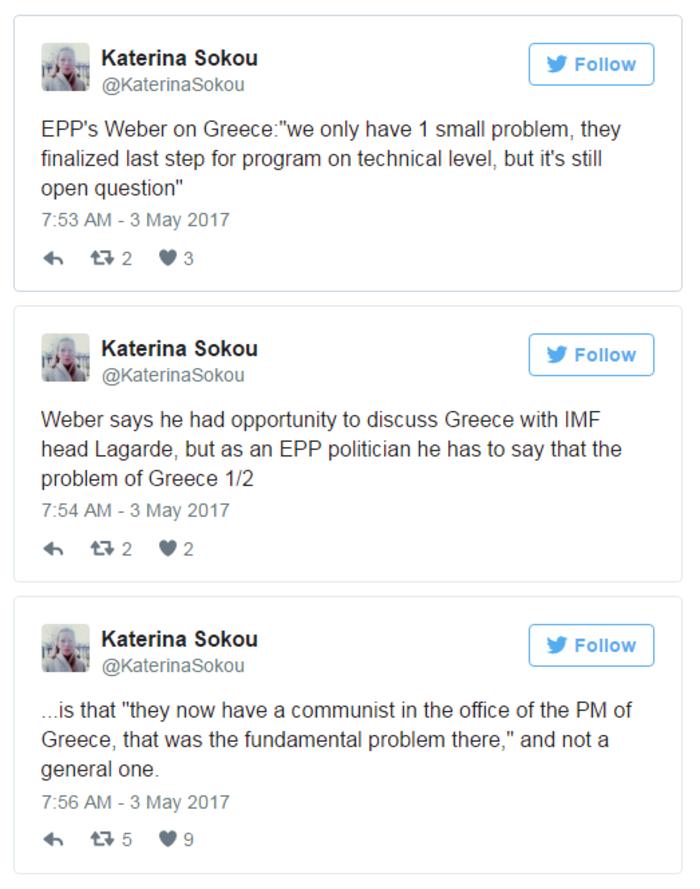 Βεμπερ: Το πρόβλημα της Ελλάδας είναι ο κομμουνιστής πρωθυπουργός
