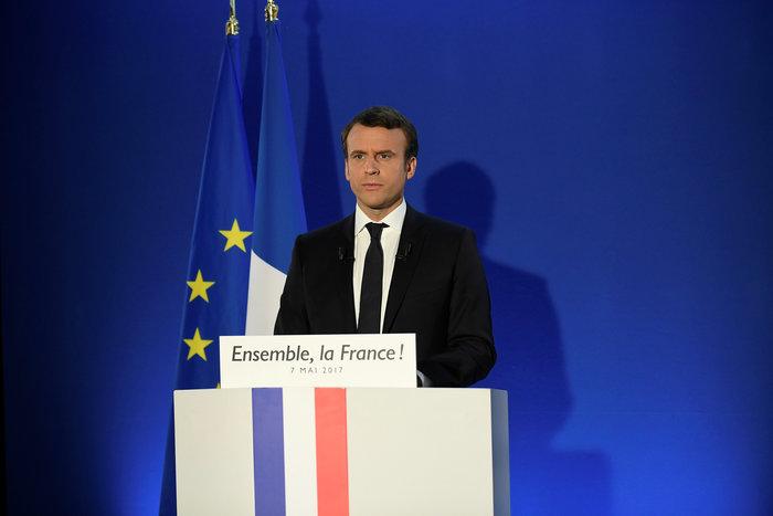 Ο Εμανουέλ Μακρόν στην πρώτη του ομιλία μετά την ανακοίνωση του αποτελέσματος