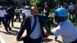 Αγρια επίθεση της ασφάλειας του Ερντογάν κατά διαδηλωτών