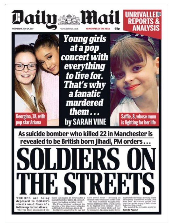 Τα βρετανικά πρωτοσέλιδα: Οι τρομοκράτες «έκλεψαν» τις ζωές παιδιών