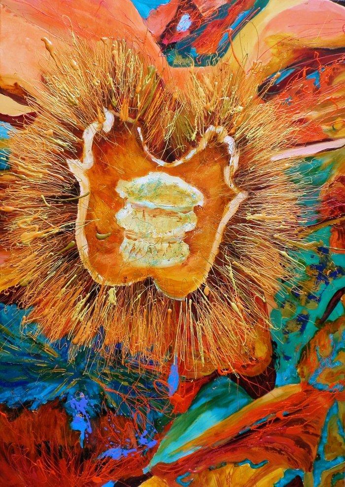 Μαναβή Πένη, Ο γόης ο κυρ άνεμος 110x80cm, Λάδι και τυπογραφικό μελάνι σε καμβά