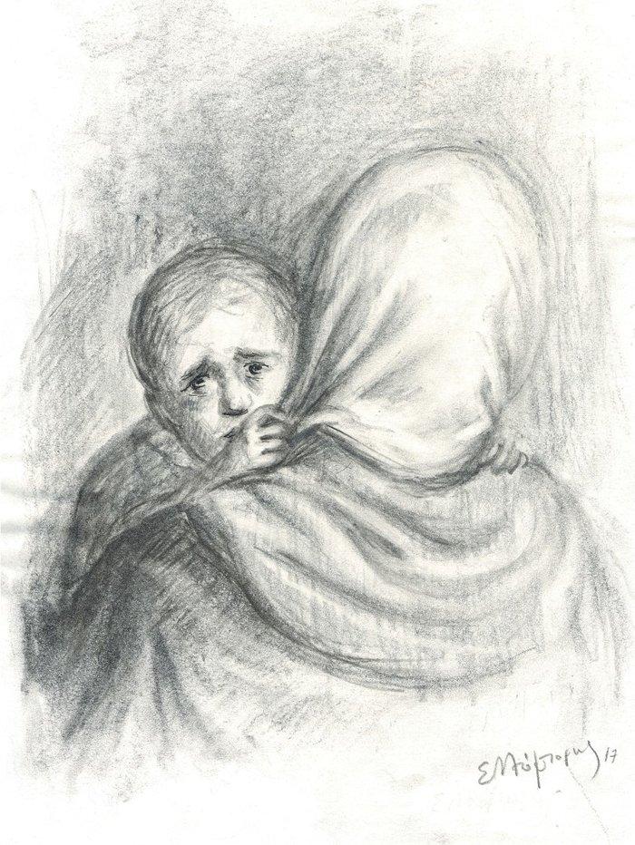 Μπόμπορης Βαγγέλης, Έτσι όπως χάνομαι στην καρδιά κάποιων παιδιών 20x30cm, Κάρβουνο σε χαρτί