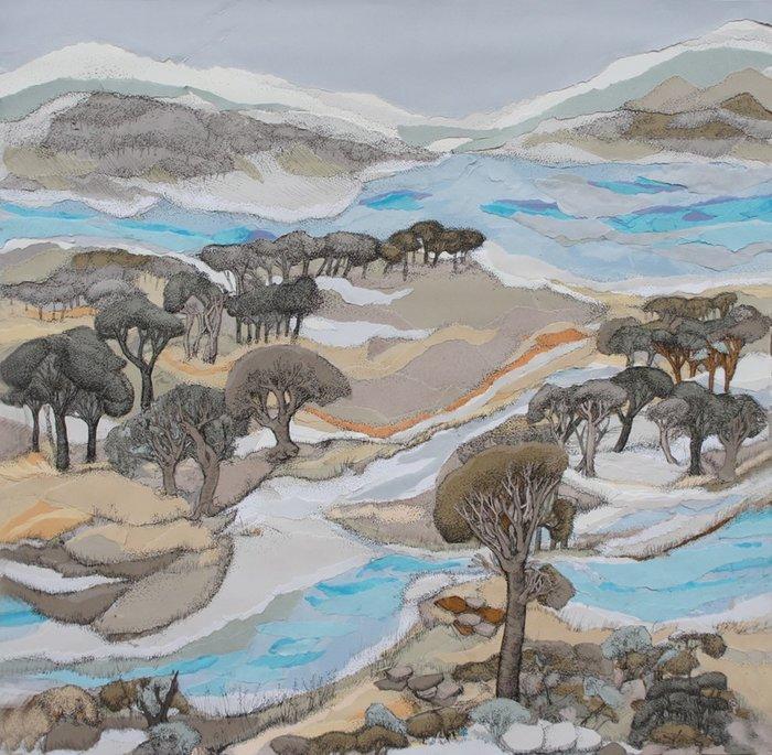 Οθωναίου Φωτεινή, Η μπαλάντα των τριών ποταμών 75x75cm, Μικτή τεχνική, χαρτί με μελάνι