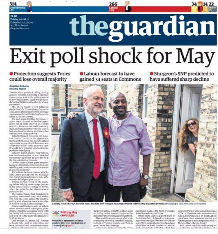 Το αυριανό πρωτοσέλιδο της Guardian για τις βρετανικές εκλογές