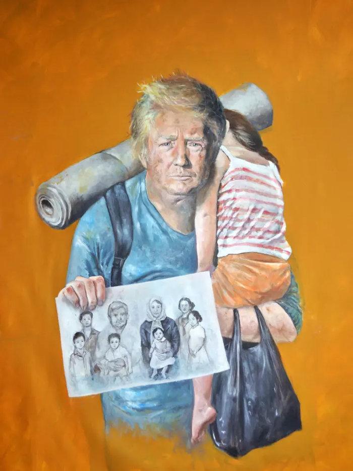 Ο σύριος καλλιτέχνης που μεταμόρφωσε τους πολιτικούς ηγέτες σε πρόσφυγες