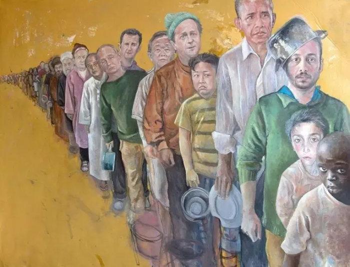 Ο σύριος καλλιτέχνης που μεταμόρφωσε τους πολιτικούς ηγέτες σε πρόσφυγες - εικόνα 5
