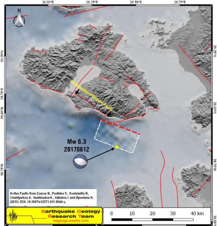 H απεικόνιση της περιοχής του ρήγματος του σεισμού στη Λέσβο [εικόνα]