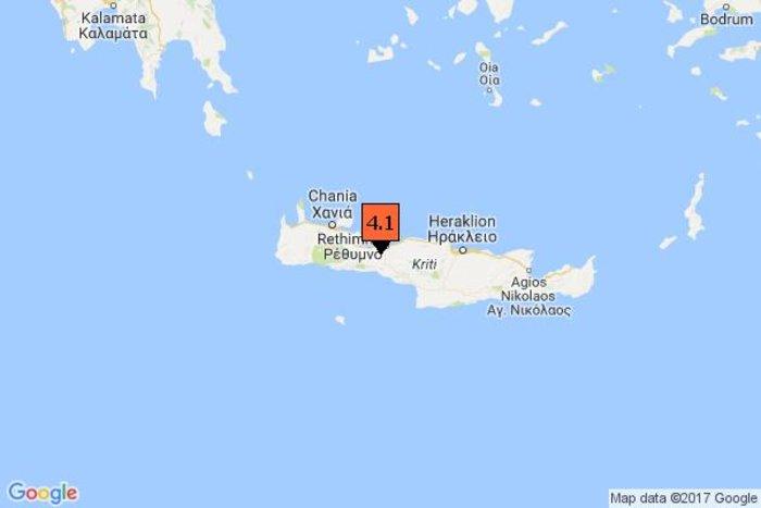 Σεισμός 4,1 Ρίχτερ λίγα χιλιόμετρα από το Ρέθυμνο