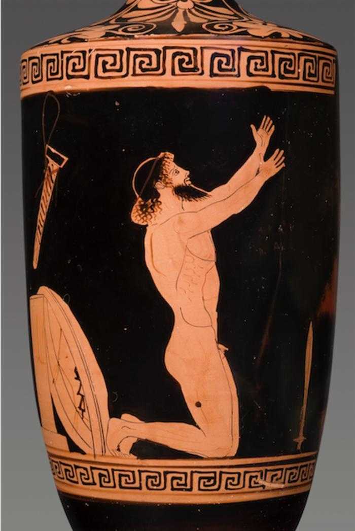 Λήκυθος με παράσταση της αυτοκτονίας του Αίανταπερ. 460 π.Χ.Πηλός, ερυθρόμορφο, αποδίδεται στον Ζωγράφο του ΑλκίμαχουΑττικήΒασιλεία, Antikenmuseum und Sammlung Ludwig-