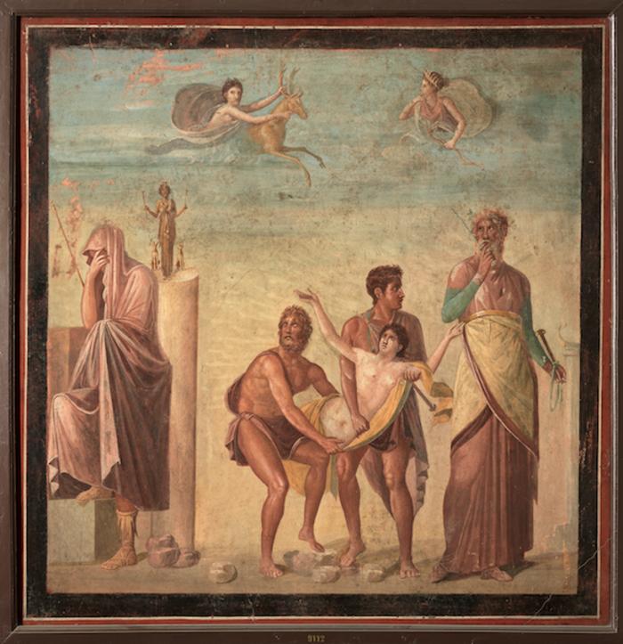 Τοιχογραφία με σκηνή από τη θυσία της Ιφιγένειαςπερ. 62–79 μ.Χ.Τοιχογραφία σε κονίαμαΠομπηία, Οικία του Τραγικού ΠοιητήΝάπολη, Εθνικό Αρχαιολογικό Μουσείο
