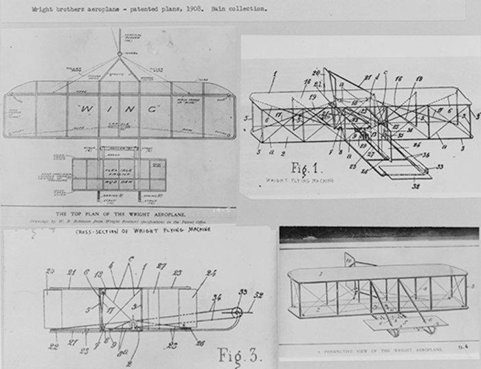 Τα πατενταρισμένα σχέδια για το αεροπλάνο των αδελφών Ράιτ. 1908