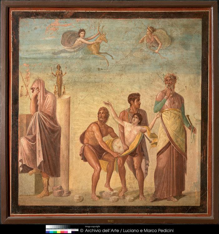 Τοιχογραφία με σκηνή από τη θυσία της Ιφιγένειας62–79 μ.Χ.Πομπηία, Οικία του Τραγικού ΠοιητήΝάπολη, Museo Archeologico Nazionale