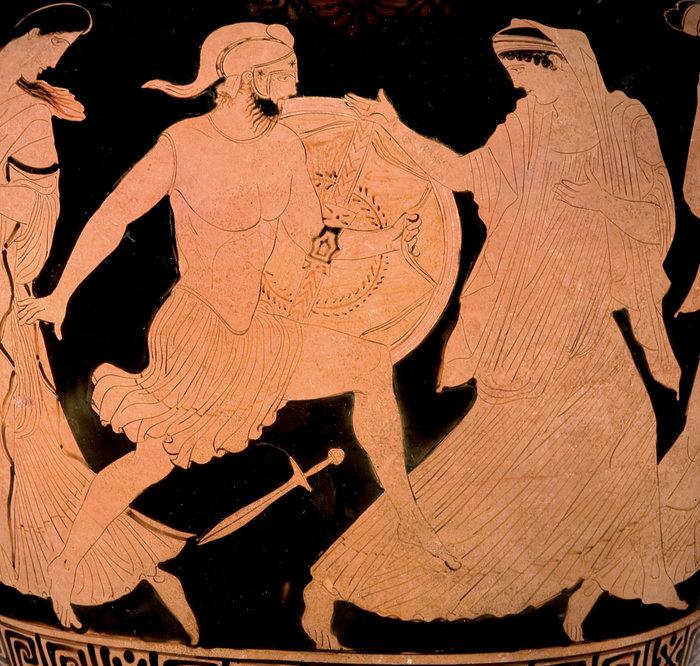 Ερυθρόμορφος αμφορέας με λαιμό, με παράσταση του Μενέλαου και της Ελένηςπερ. 430–420 π.Χ.Αποδίδεται στον Ζωγράφο του ΚλεοφώντοςΑττικήΒασιλεία, Antikenmuseum Basel und Sammlung Ludwig