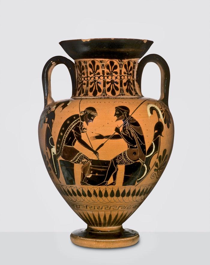 Μελανόμορφος αμφορέας με παράσταση του Αχιλλέα και του Αίαντα που παίζουν επιτραπέζιο παιχνίδιπερ. 540 π.Χ.VulciΒασιλεία, Antikenmuseum Basel und Sammlung Ludwig