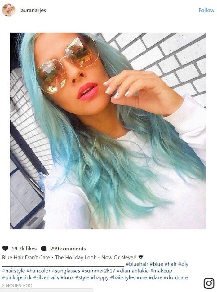 Η Λάουρα Νάργες πανέμορφη ακόμη και με... γαλάζια μαλλιά -φωτό