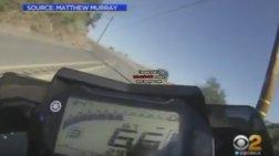 Καρέ-καρέ η πτώση οδηγού μηχανής σε γκρεμό 75 μέτρων