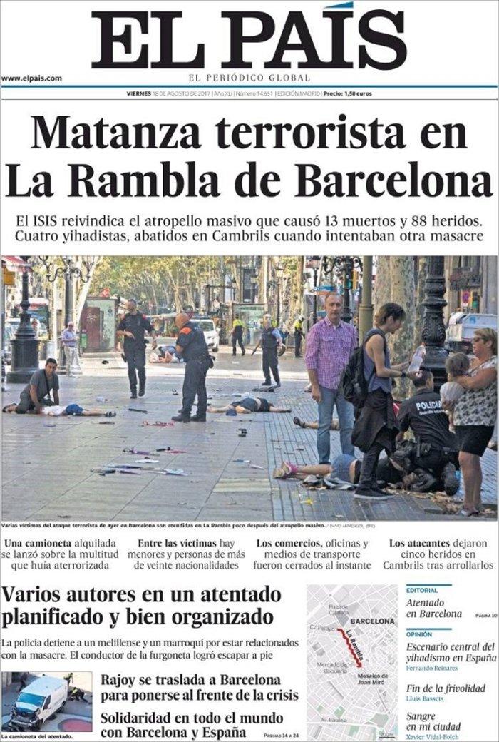 Το μακελειό στην Καταλονία μέσα από τα διεθνή πρωτοσέλιδα