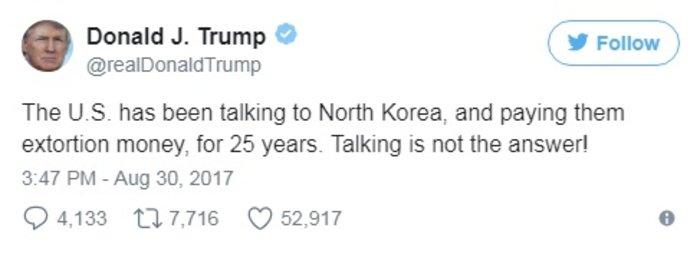 Πολεμικό σκηνικό: πύραυλοι από τον Κιμ, tweets από τον Τραμπ
