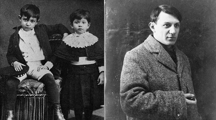 Ο Πικάσο σε νεαρή (δεξιά) και παιδική (αριστερά) ηλικία δίπλα από την αδερφή του, Λόλα