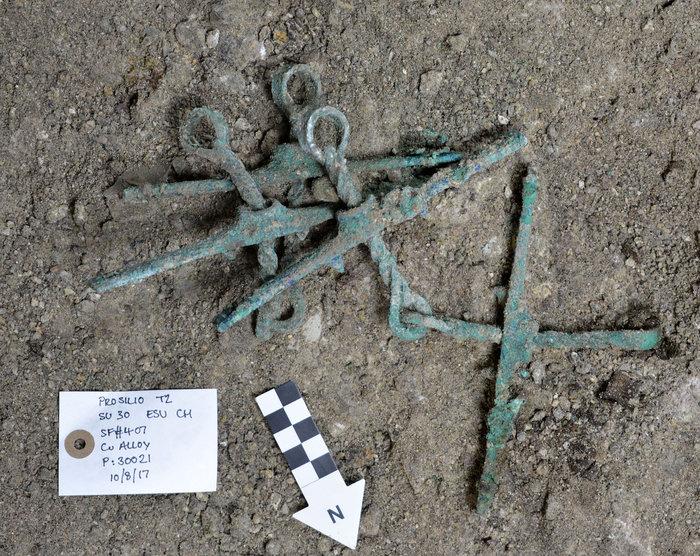 Θαλαμοειδής τάφος Προσηλίου. Ζεύγος στομίδων (εξαρτημάτων χαλιναριών αλόγων), όπως βρέθηκαν στην ανασκαφή. Φωτογραφία: Γιάννης Γαλανάκης.