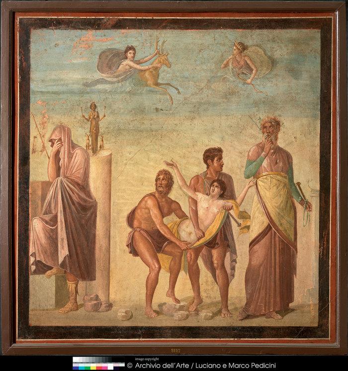 Τοιχογραφία με σκηνή από τη θυσία της Ιφιγένειας 62–79 μ.Χ. Πομπηία, Οικία του Τραγικού Ποιητή Νάπολη, Museo Archeologico Nazionale