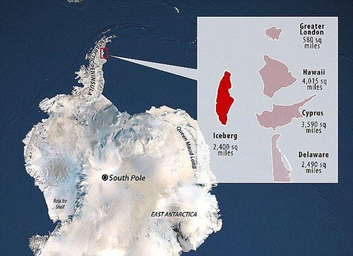Παγόβουνο από την Ανταρκτική πλέει προς τον Ατλαντικό