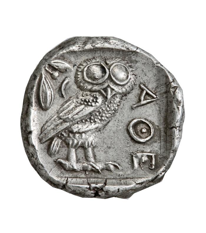 Αργυρό τετράδραχμο Αθηνών με παράσταση γλαύκας440 – 420 π.Χ.