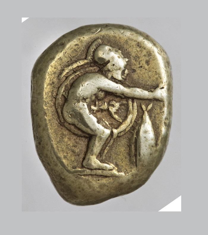 Στατήρ Κυζίκου από ήλεκτρο με παράσταση οπλιτοδρόμουπερ. 475 π.Χ.