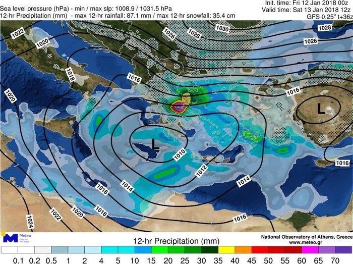 Ο χάρτης που ακολουθεί απεικονίζει τη θέση του Θησέα και την κατανομή του υετού (βροχοπτώσεις και χιονοπτώσεις) κατά το πρώτο δωδεκάωρο του Σαββάτου 13/01.