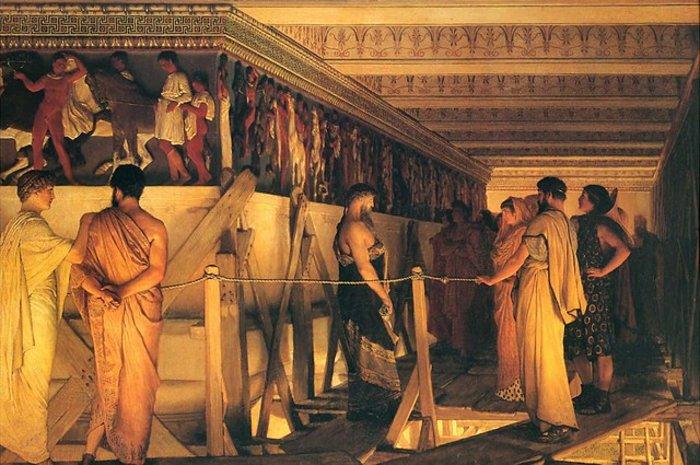 Alma-Tadema «Ο Φειδίας δείχνει την ζωφόρο του Παρθενώνα σε φίλους»
