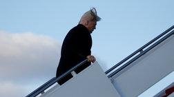 O άνεμος αποκαλύπτει την αλήθεια για τα μαλλιά του Τραμπ [Βίντεο]