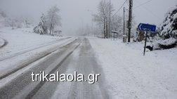 Σφοδρή χιονόπτωση στα ορεινά των Τρικάλων - Εικόνες