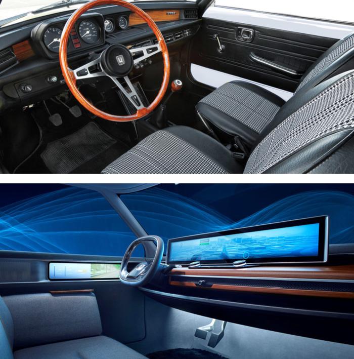Το ταμπλό του 1ου Civic και κάτω του EV Concept