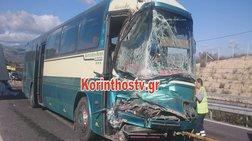 Σφοδρή σύγκρουση ΚΤΕΛ με φορτηγό - Τρεις τραυματίες (φωτό)