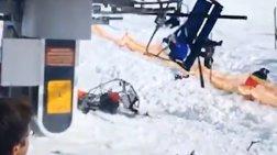 Η τρομακτική στιγμή που βλάβη σε chairlift εκσφενδονίζει σκιέρ