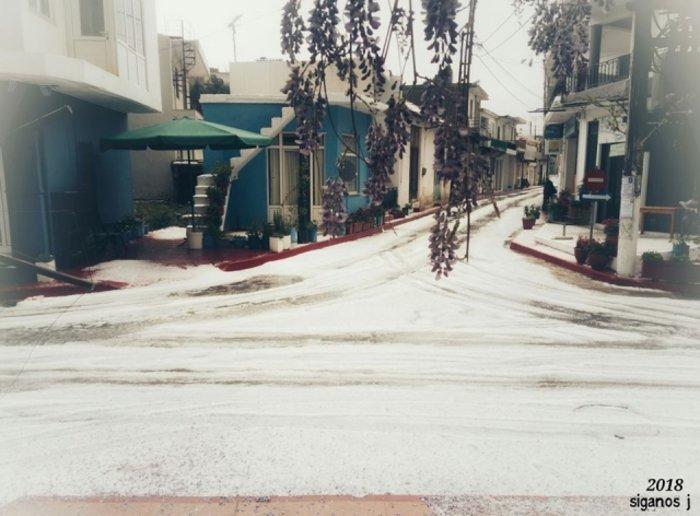 Ο καιρός τρελάθηκε στην Κρήτη -Πάσχα με... χιόνι και χαλάζι [εικόνες]